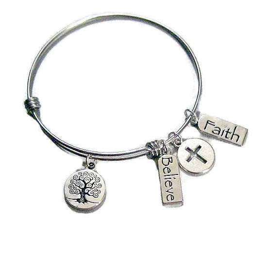 Tree of Life Believe Faith Bangle