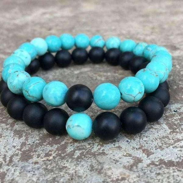 Turquoise and Black Distance Bracelets SET,Gift for her