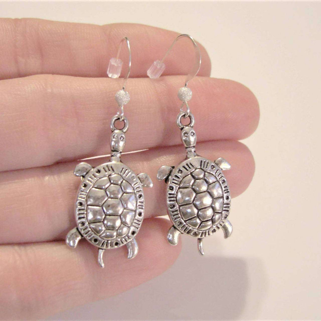 Ladybugfeet Jewelry Designs:TURTLE earrings, Tortoise Sterling silver hook earring, Dangle earrings