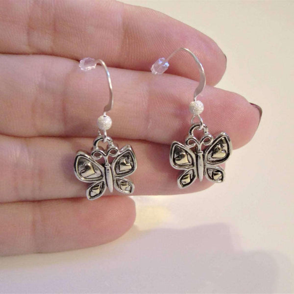 Ladybugfeet Jewelry Designs:Two Tone Butterfly earringS