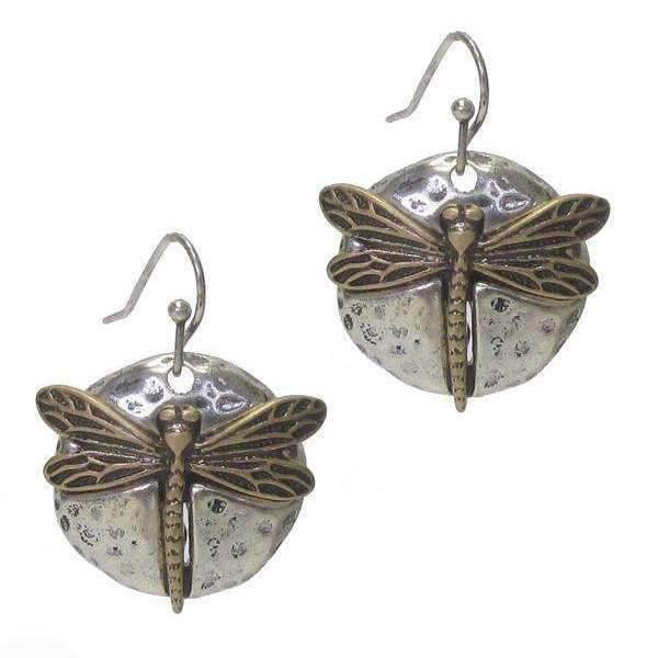 Two Tone Dragonfly Hammered Disc Earrings