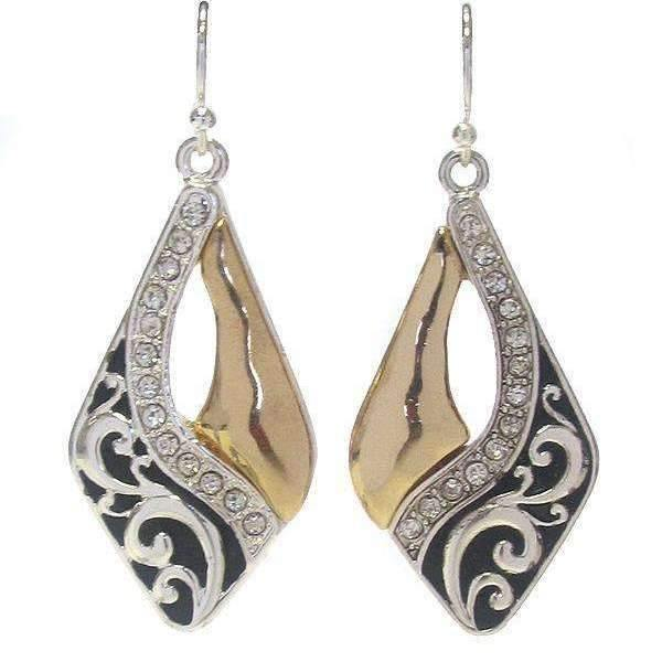 Two Tone Filigree Scroll Rhinestone Dangle Earrings