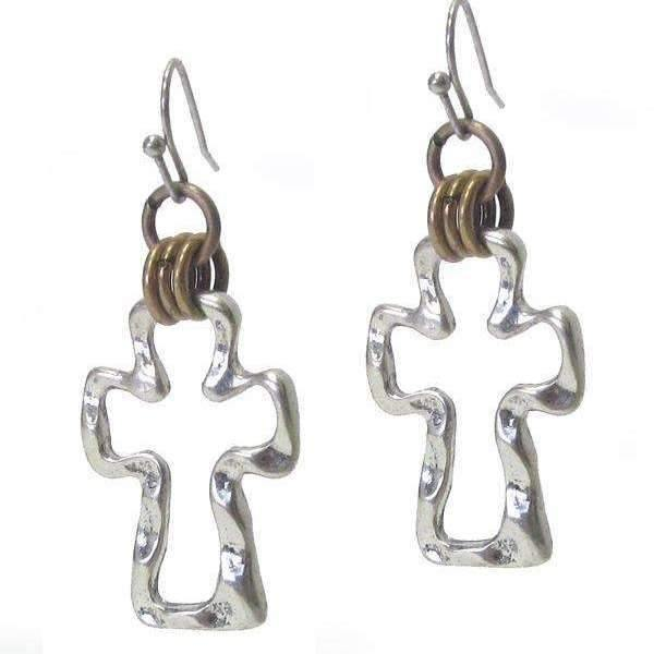 Ladybugfeet Jewelry Designs:Two Tone Hammered Cross Dangle Earrings