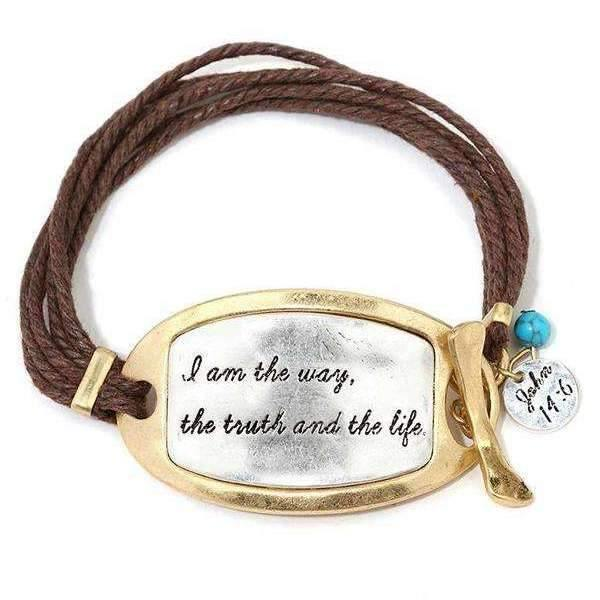 Two Tone I am the Way, the Truth and the Life Waxed Cord Bracelet