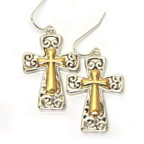 Ladybugfeet Jewelry Designs:Two Tone Ornate Cross Dangle Earrings