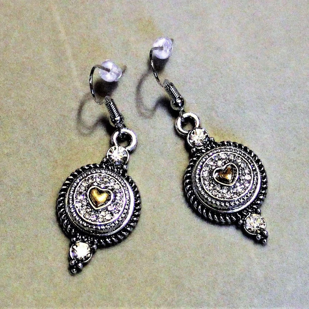 Ladybugfeet Jewelry Designs:Two Tone Rhinestone Heart Dangle Earrings