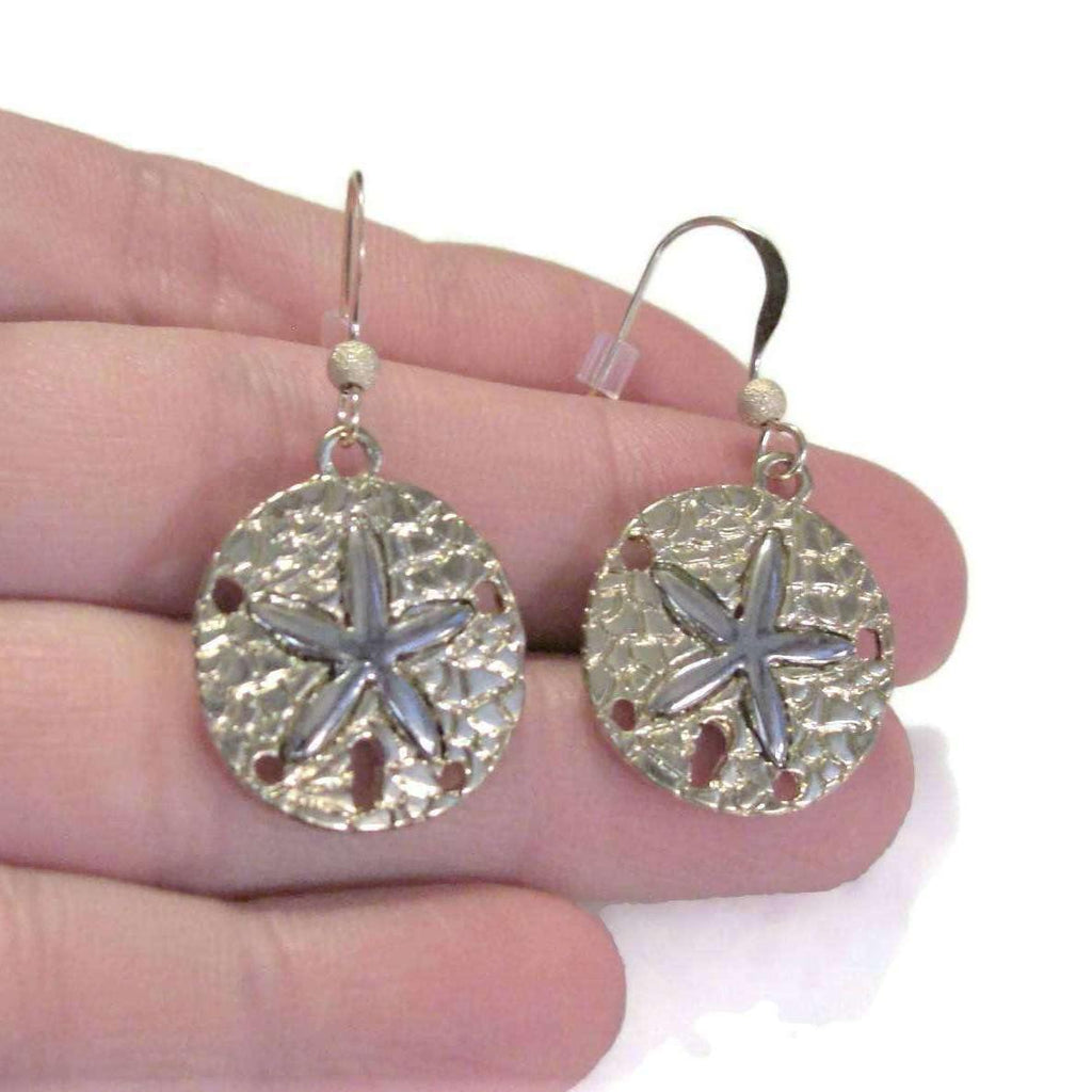 Ladybugfeet Jewelry Designs:Two Tone SAND DOLLAR hook earrings