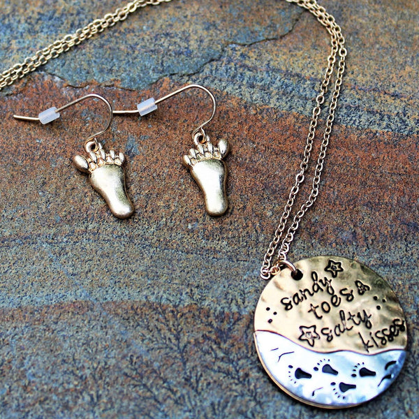 Two Tone Sandy Toes & Salty Kisses Necklace / Earring Set, 18 inch