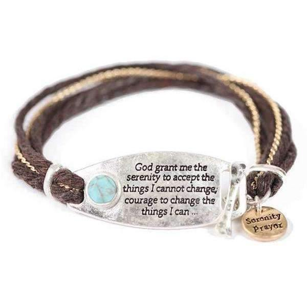 Two Tone Serenity Prayer Waxed Cord Bracelet