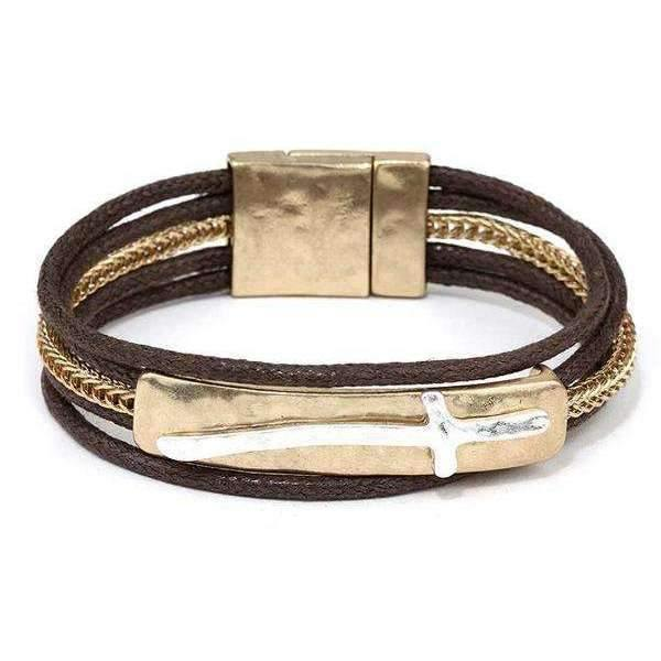 Two Tone Silver on Gold Cross plate bracelet
