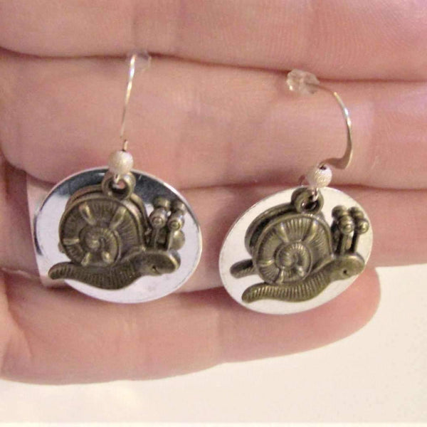 Ladybugfeet Jewelry Designs:Two Tone Snail earringS