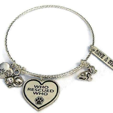 Ladybugfeet Jewelry Designs:WHO RESCUED WHO Adjustable Bangle