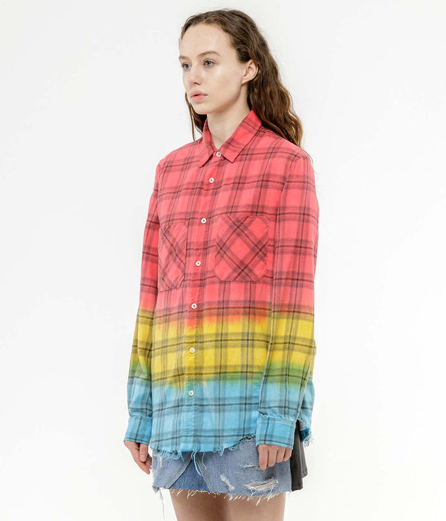 Red Faded Plaid Shirt