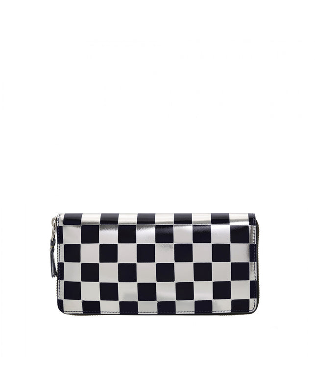 Silver Check Long Wallet