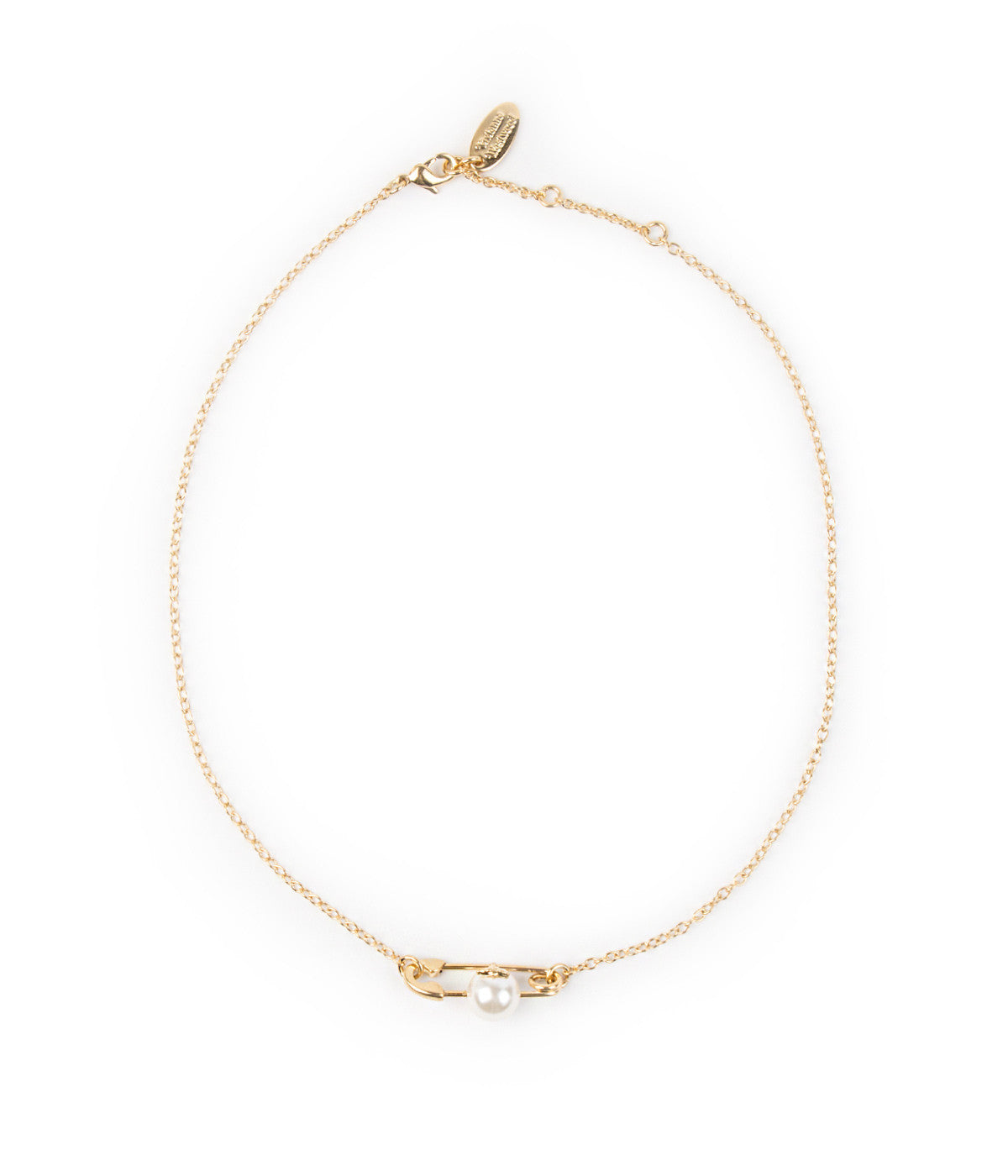 Yellow Gold Safety Pin Chocker Necklace