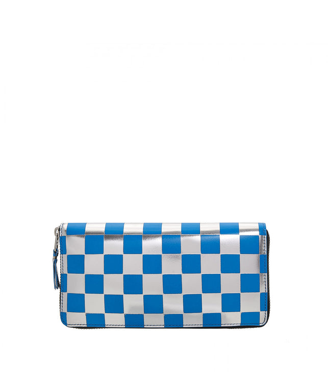 Blue Check Long Wallet