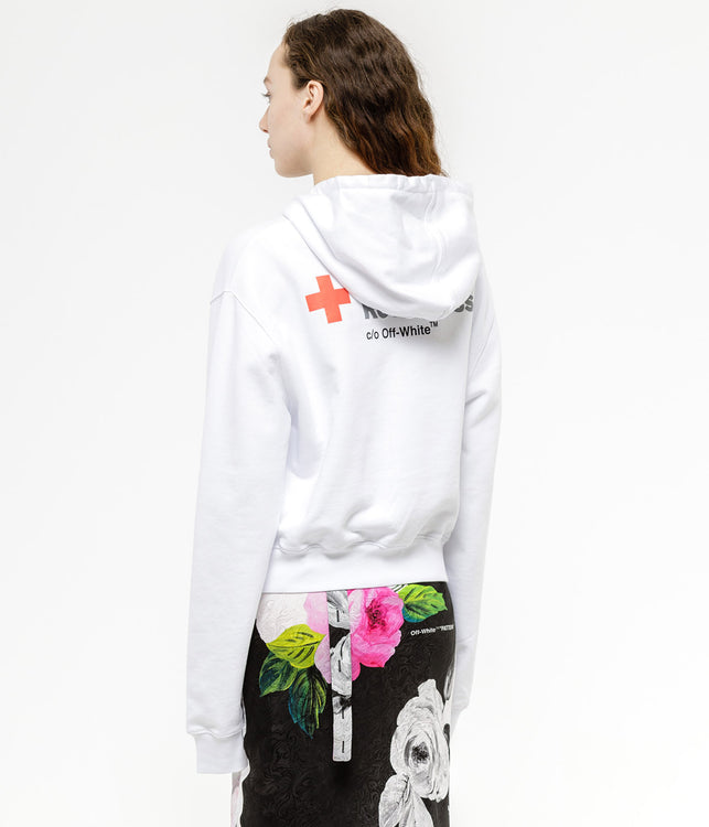 White Cropped Red Cross Hoodie