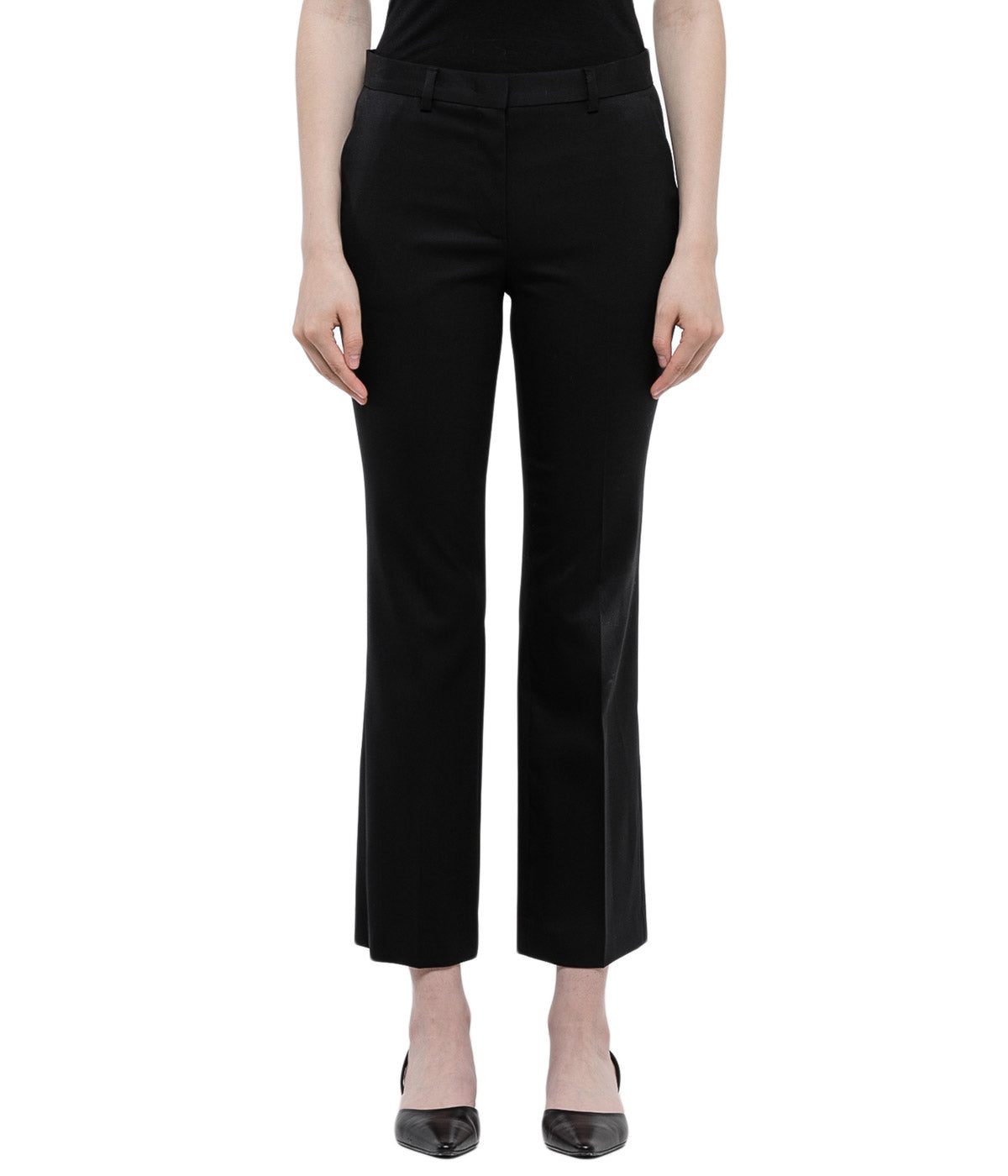 Black Cropped Flare Wool Trousers