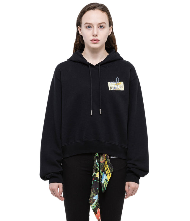 Black Graphic Pullover Hoodie