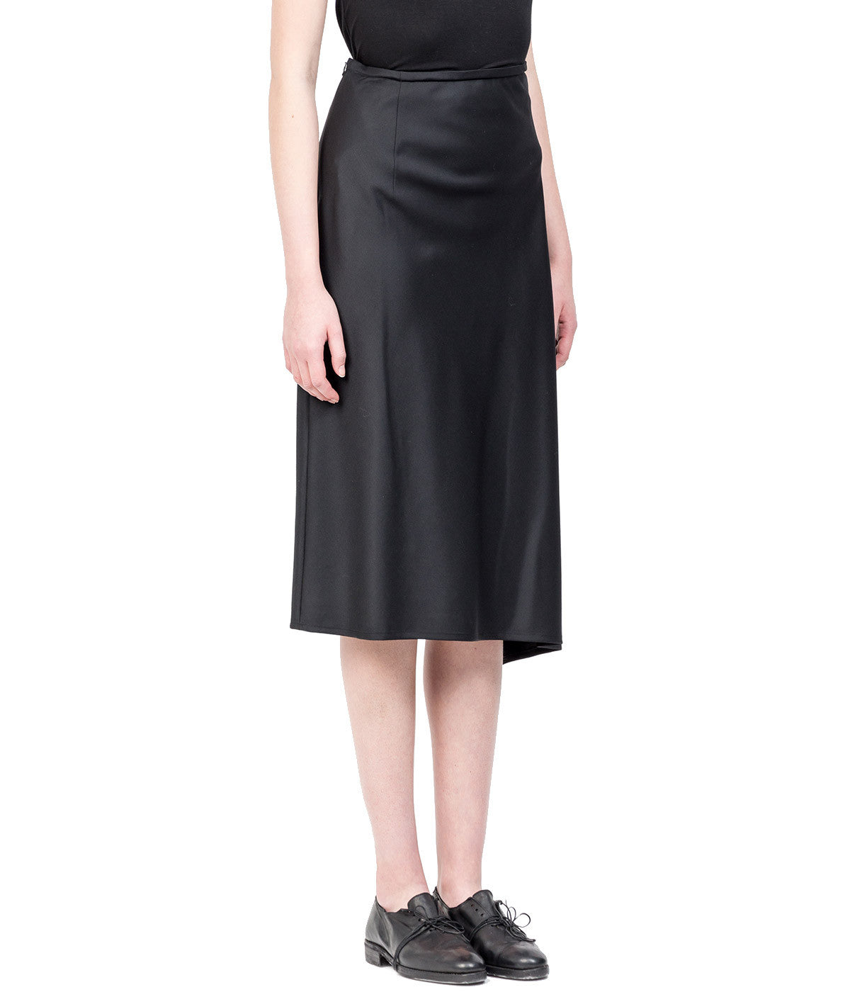 Black U-Bias Dart Asymmetrical Skirt