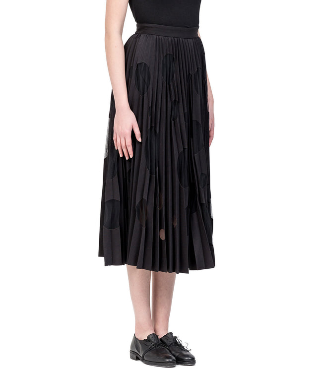 Black Pleated Cut-Out Skirt