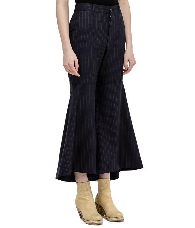 Navy Flared Wool Pants