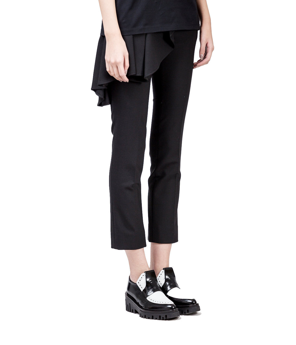 Asymmetric Volant Tube Fit Trousers