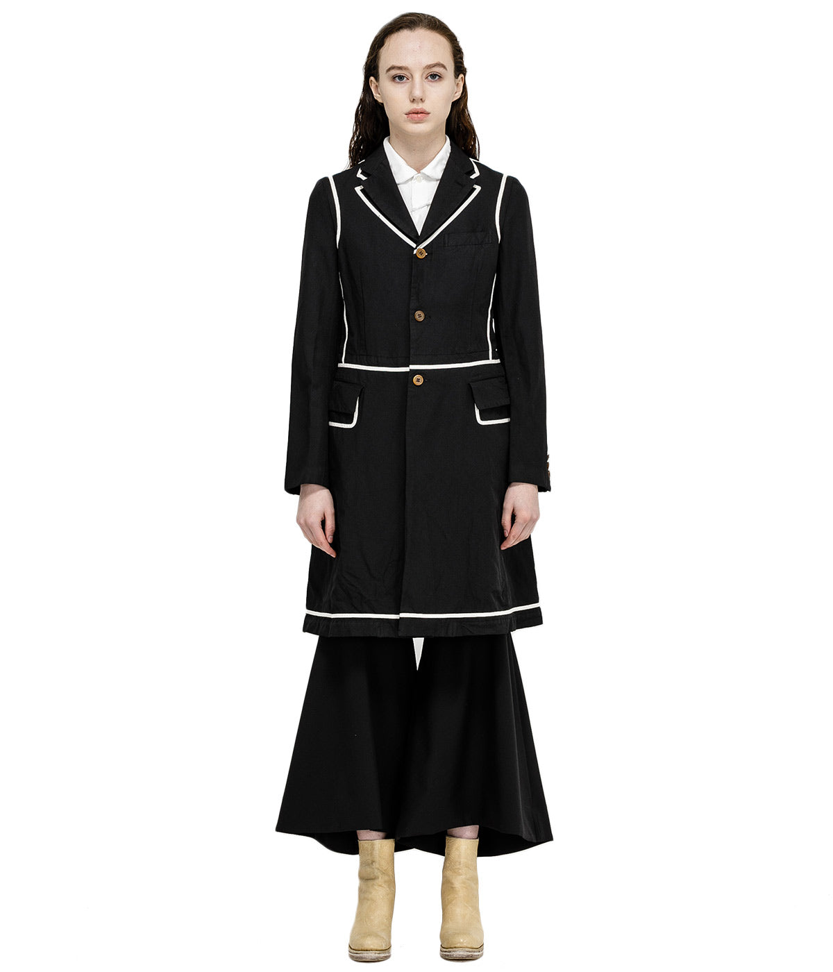 Black Taped Knee High Coat