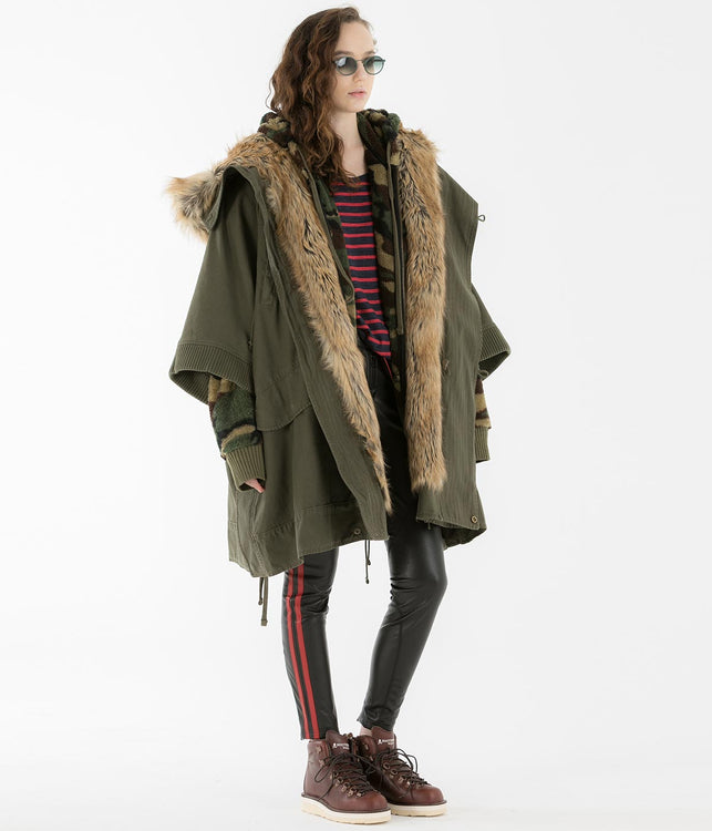 Khaki Green Cape Coat