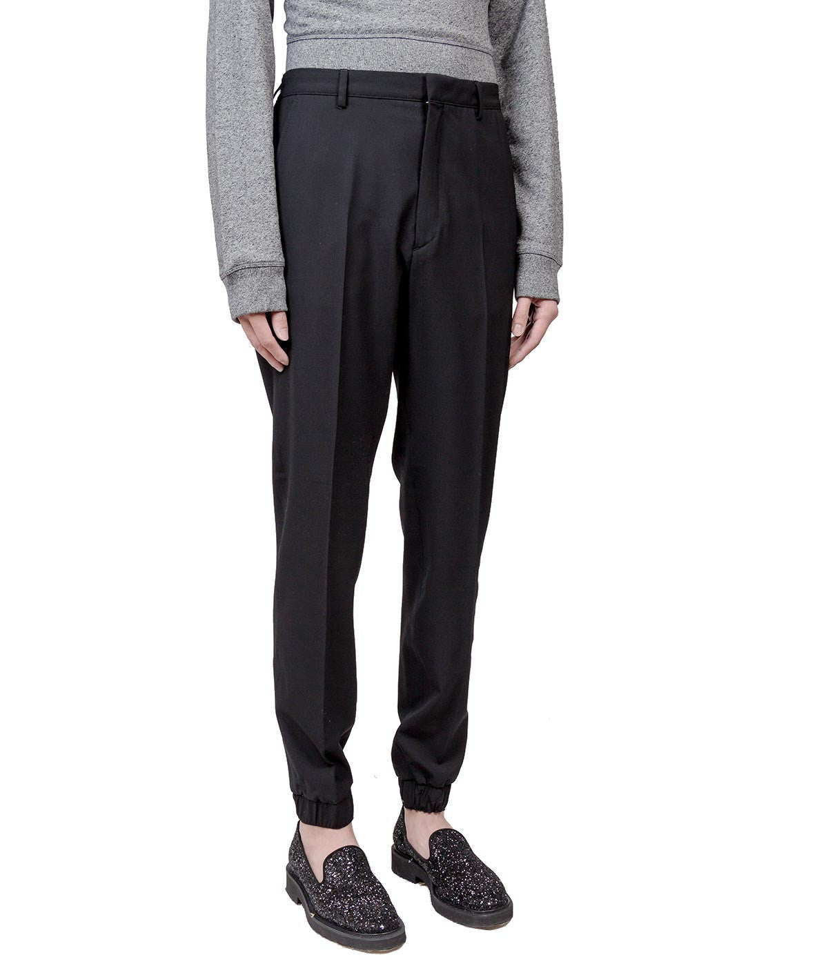 Black Wool Elastic Pants