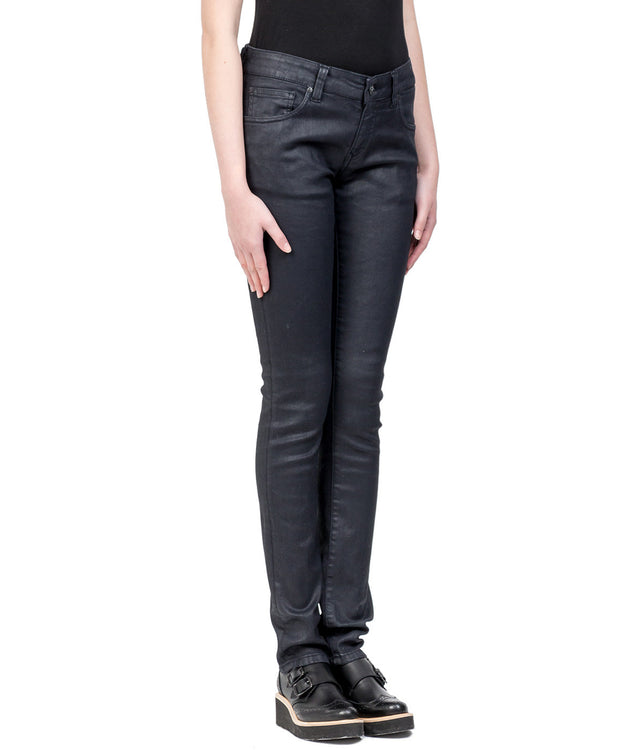 Razz Zip Coated Black Denim Jeans