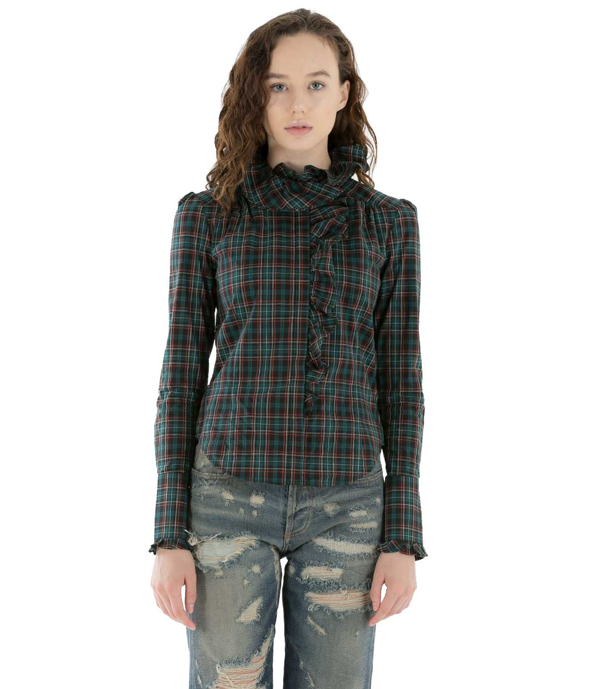 Green Checkered Ruffle Shirt