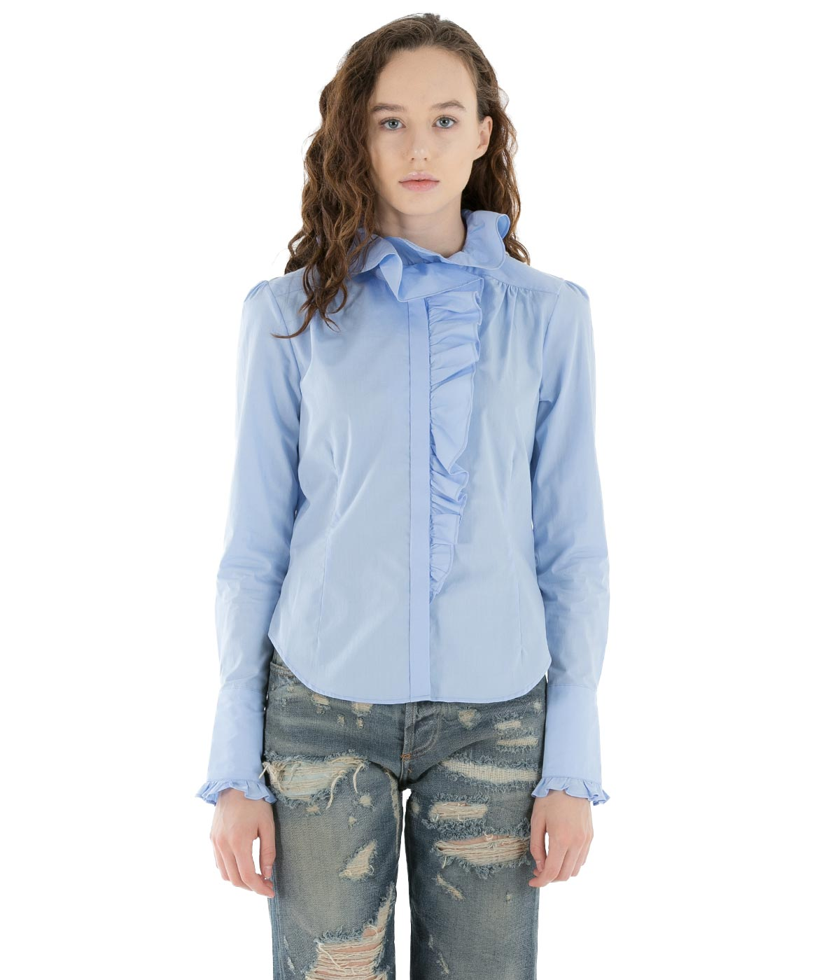Light Blue Ruffle Shirt