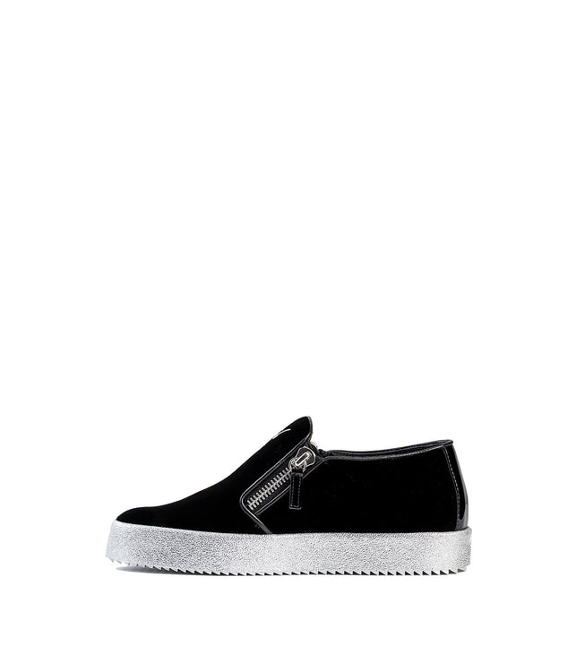 Black Velvet Slip-On Sneakers