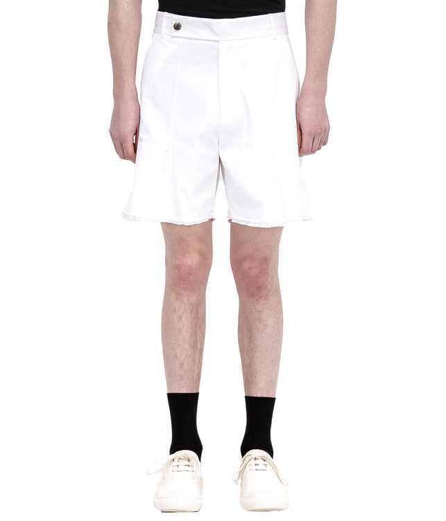 White Pleated Cotton Shorts