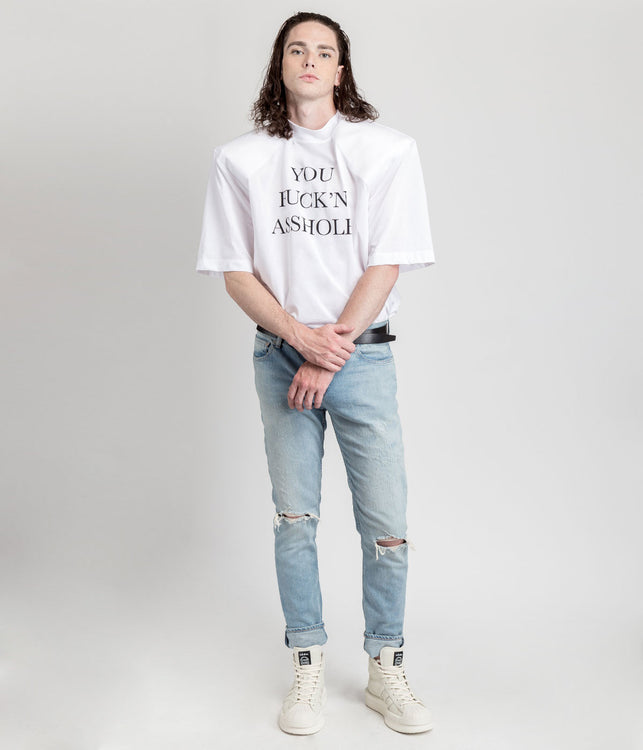 White You Fuck'n Asshole Football Shoulder T-shirt