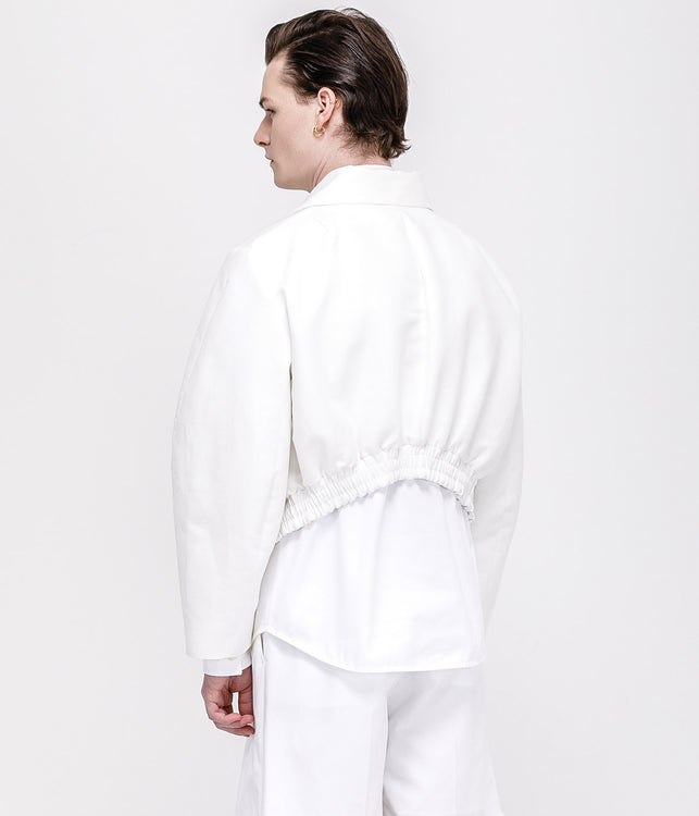 White Cotton Bomber Jacket