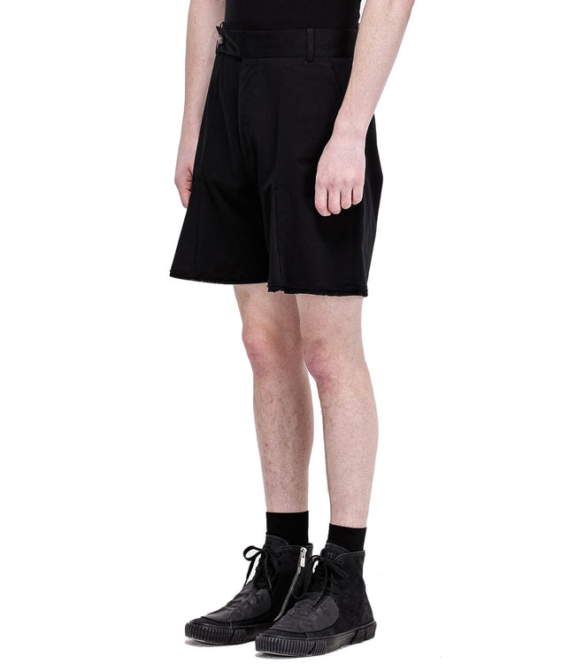 Black Pleated Cotton Shorts