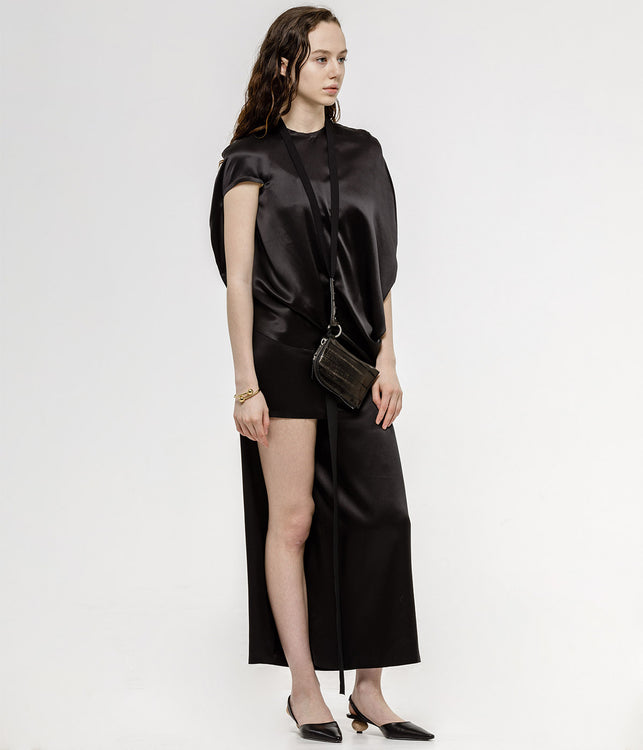 Black Asymmetrical Circular Silk Top