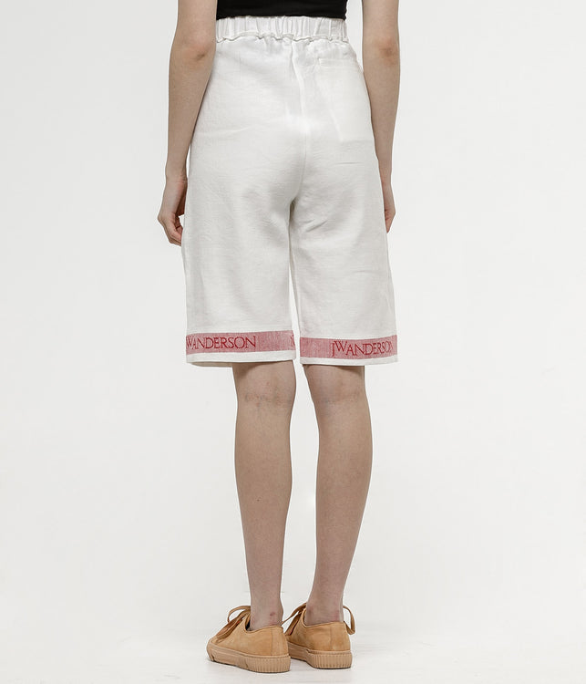 White Tea Towel Linen Shorts