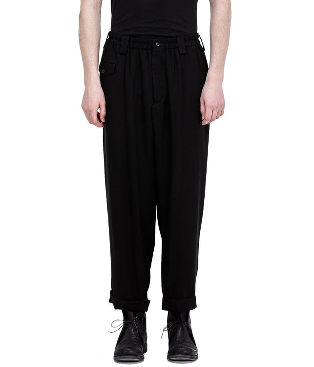 Black Rayon Flap Pocket Pants