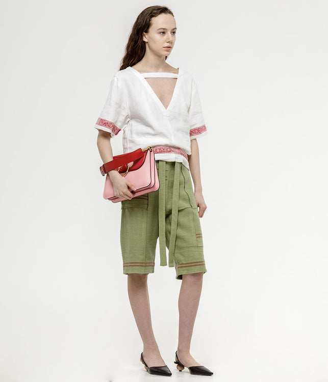 Green Patchwork Tea Towel Shorts