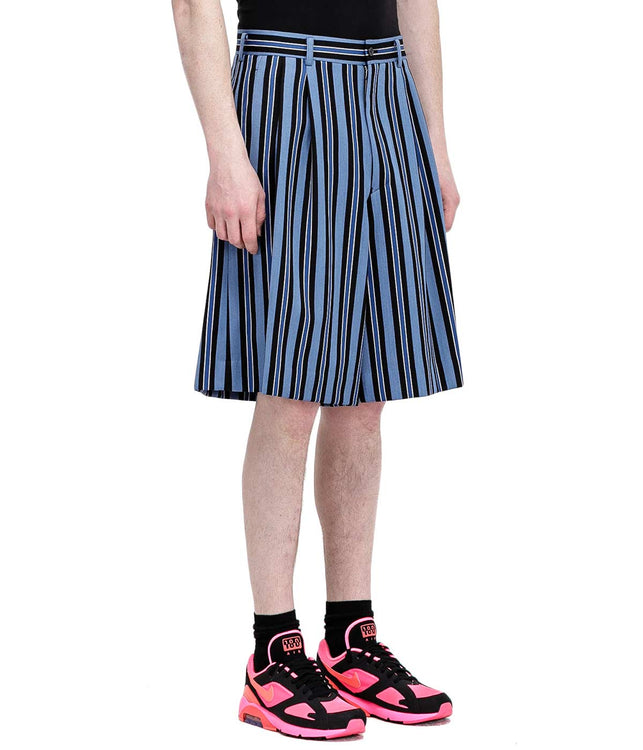 Blue Striped Wool Shorts