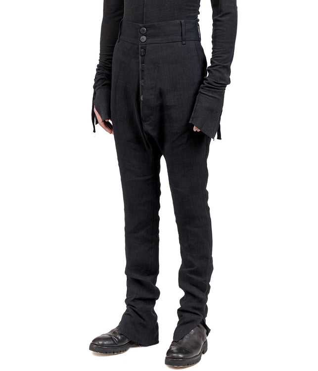 Black Dropped Crotch Casual Trousers