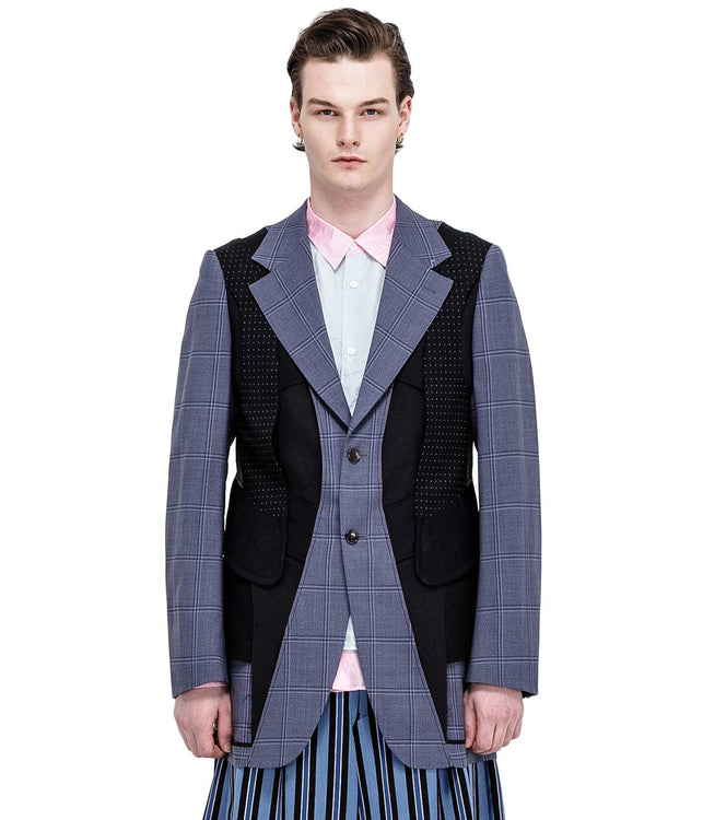 Light Blue Checkered Reverse Blazer