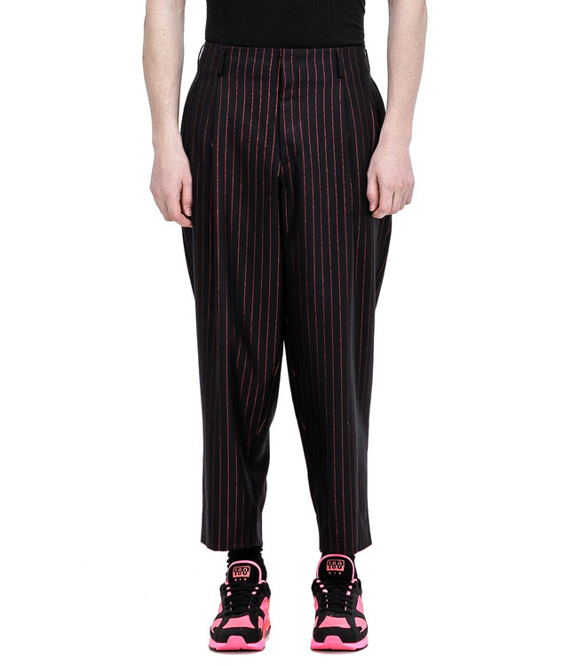 Black Metallic Pinstripe Pants