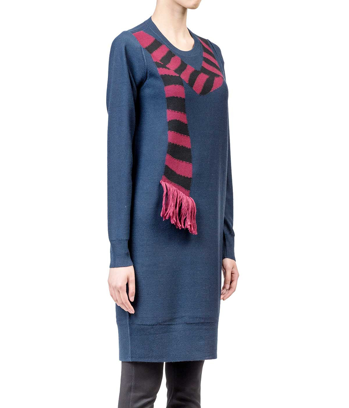 Navy Scarf Intarsia Knit Dress