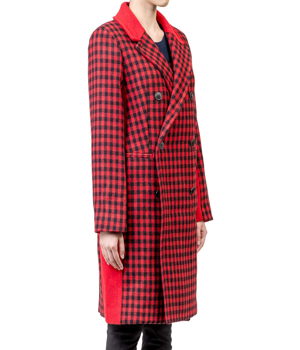 Red Black Double-Breasted Checked Coat
