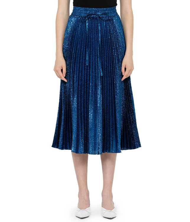 Persian Blue Metallic Pleated Skirt