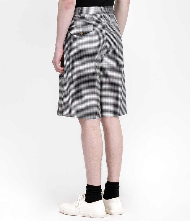 Black Wool Gingham Shorts